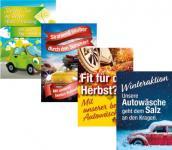 Plakate Autowäsche 4 Jahreszeiten