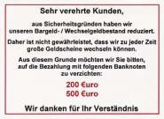 1 Aufkleber-Set  Bargeld-/Wechselgeldbestand