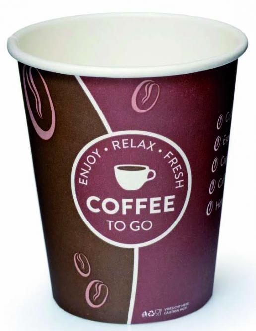 "Kaffeebecher ""Coffee to go"", Motiv: enjoy - relax- fresh, 0,2 l bzw. 0,3 l (1.000 Stück) 0,2 l"
